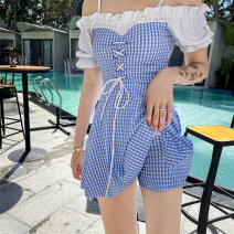 one piece  Langyu S (recommended 80-90 kg), m (recommended 90-100 kg), l (recommended 100-110 kg), XL (recommended 110-120 kg) Blue grid, pink blue grid, green grid Skirt one piece With chest pad without steel support Polyester, spandex, others female Short sleeve Casual swimsuit lattice bow