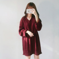 Wool knitwear Autumn of 2019 Average size Apricot, Burgundy, black, doghead T-shirt Long sleeves singleton  Socket other 51% (inclusive) - 70% (inclusive) Medium length routine commute easy V-neck routine Solid color Socket Korean version Other / other