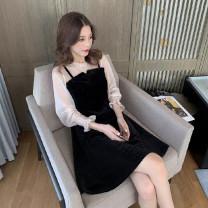 Dress Autumn 2020 Apricot, black, leggings, white S,M,L,XL,2XL Mid length dress singleton  Long sleeves commute High waist Socket routine Korean version 81% (inclusive) - 90% (inclusive)