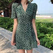 Dress Summer 2020 green S. M, l, XL, 2XL, XXXs pre-sale singleton  commute Elastic waist Broken flowers Socket Irregular skirt routine 18-24 years old Korean version 51% (inclusive) - 70% (inclusive)