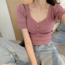 Wool knitwear Summer 2020 Average size White, black, olive green, stripe, pink purple, safety Pants White Short sleeve singleton  Socket other 51% (inclusive) - 70% (inclusive) have cash less than that is registered in the accounts routine commute Self cultivation V-neck routine Solid color Socket