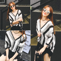 shirt Average size Summer of 2018 cotton 51% (inclusive) - 70% (inclusive) elbow sleeve commute Medium length V-neck Single row multi button routine stripe 18-24 years old Self cultivation Other / other Korean version