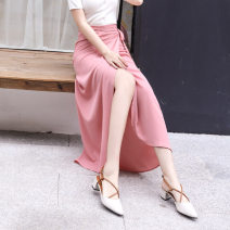 skirt Summer of 2019 Without lining, with lining Khaki, dark blue, red, black, shrimp pink, mauve longuette Natural waist skirt Solid color Other / other