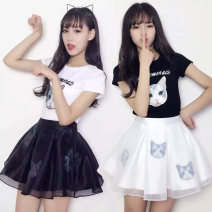 Dress Summer of 2019 Miniskirt Two piece set Short sleeve commute Crew neck middle-waisted Animal design zipper A-line skirt routine Others 18-24 years old Type A Other / other 51% (inclusive) - 70% (inclusive) organza  cotton