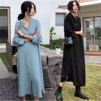 Women's large Spring 2020 Light blue, black, brown pre-sale Large XL, large XXL, large XXL, large XXXXL, large L Dress singleton  commute easy thin Socket three quarter sleeve Korean version Medium length Other / other