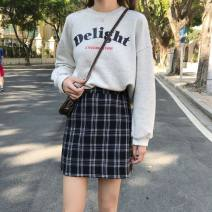 skirt Winter of 2018 S,M,L Black, white, blue, yellow, dog's head Short skirt commute High waist A-line skirt lattice Type A 18-24 years old 30% and below Other / other polyester fiber Korean version