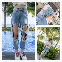 Jeans Summer of 2018 wathet S. M, l, XL, 2XL, 3XL, 4XL, 5XL, XXXs pre-sale Ninth pants High waist Wide legged trousers routine 18-24 years old Old, worn, wrinkled, washed, whitened, flanged, zipper, button, multi pocket Cotton denim light colour Other / other 51% (inclusive) - 70% (inclusive)