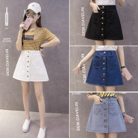 skirt Summer of 2019 S,M,L,XL,2XL Pure white , Light blue [real shot] , Dark blue [real shot] , Pure black [real shot] , Safety Pants White Short skirt Versatile High waist A-line skirt Solid color Type A 18-24 years old 81% (inclusive) - 90% (inclusive) Other / other Button