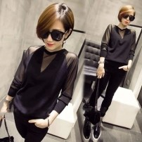 T-shirt black Spring of 2019 Long sleeves Crew neck Self cultivation routine commute other 71% (inclusive) - 85% (inclusive) Korean version originality Solid color, stitching Other / other Splicing, mesh