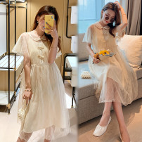 Dress Summer 2021 Gauze skirt M [recommended 80-100 Jin], l [recommended 100-120 Jin], XL [120-140 Jin], 2XL [140-160 Jin recommended], 3XL [160-180 Jin recommended], 4XL [180-200 Jin recommended] Mid length dress singleton  Short sleeve commute Doll Collar Solid color Princess Dress Type A organza