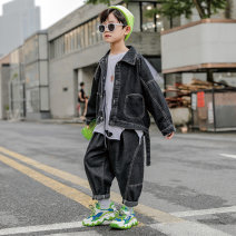 suit Shijie rhinoceros Blue black 110cm 120cm 130cm 140cm 150cm 160cm male spring and autumn leisure time Long sleeve + pants 3 pieces Thin money There are models in the real shooting Single breasted nothing Solid color Denim children Expression of love Lbqt8381 jeans k40a Class B Autumn 2020