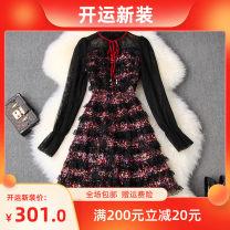 Dress Spring 2020 black S,M,L,XL Short skirt singleton  Long sleeves stand collar High waist other zipper A-line skirt pagoda sleeve LANYAYI T10622