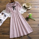 Dress Summer 2020 3377 purple, 3377 apricot, 3379 light blue, 3379 light purple, 3502 yellow, 3502 green S,M,L,XL Mid length dress singleton  Short sleeve Sweet stand collar middle-waisted Solid color Three buttons Princess Dress routine Others Type X 81% (inclusive) - 90% (inclusive) brocade cotton