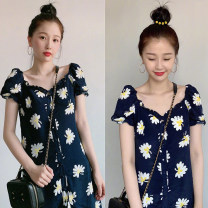 Dress Summer 2020 Picture color S. M, l, XL, the quantity is limited, the price will be increased by 79 yuan soon, collect baby, give priority to delivery Short skirt singleton  Short sleeve Sweet V-neck High waist Decor Single breasted Pile sleeve 18-24 years old Type A Other / other brocade college