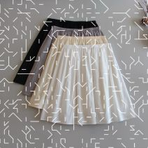 skirt Summer 2020 40cm,50cm,60cm,70cm White, black, apricot, grey Mid length dress Versatile Natural waist A-line skirt Solid color Type A 18-24 years old More than 95% other cotton