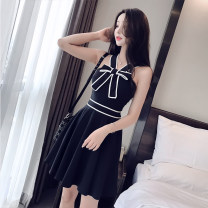 Dress Summer 2021 black S,M,L,XL Middle-skirt singleton  Sleeveless commute High waist Solid color other A-line skirt straps 18-24 years old Type A Other / other Korean version Bare back, strap 8936# 31% (inclusive) - 50% (inclusive) polyester fiber