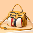 Bag The single shoulder bag cowhide Boston Bag brand new Japan and South Korea in leisure time soft zipper no Solid color Three nothing youth Pillow shape Diamond inlay Soft handle polyester fiber Zipper bag, mobile phone bag, certificate bag set-in pocket Cattle leather + synthetic leather