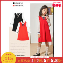 Dress Red and black female Me & city kids Viscose fiber (viscose fiber) 64% polyamide fiber (nylon fiber) 31% polyurethane elastic fiber (spandex fiber) 5% spring and autumn lady Skirt / vest other Splicing style Class B Autumn 2020