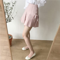 skirt Summer 2020 XS,S,M,L,XL,2XL White, pink, black Short skirt Versatile High waist Pleated skirt Solid color Type A 18-24 years old 31% (inclusive) - 50% (inclusive) other