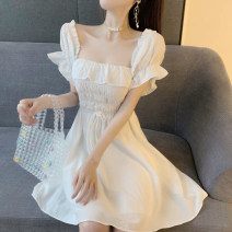 Dress Summer of 2019 White, black Average size Short skirt singleton  Short sleeve commute square neck High waist Solid color Socket Ruffle Skirt puff sleeve Others 18-24 years old Type A Korean version 81% (inclusive) - 90% (inclusive) other other