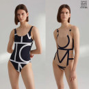 one piece  S,M,XS One piece flat corner swimsuit No steel support, no chest pad female Sleeveless stripe