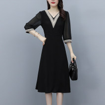 Dress Summer 2021 black M,L,XL,2XL,3XL Mid length dress singleton  elbow sleeve commute V-neck middle-waisted Solid color zipper A-line skirt routine Others 30-34 years old Type A Korean version printing 3.31-5 51% (inclusive) - 70% (inclusive) Chiffon polyester fiber