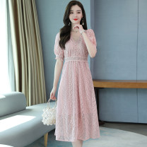 Dress Summer 2020 White, lotus root pink S,M,L,XL,2XL longuette Two piece set Short sleeve commute V-neck High waist Decor zipper A-line skirt puff sleeve Others Type A Other / other Korean version Stitching, three-dimensional decoration, zipper, lace 5.21-5 51% (inclusive) - 70% (inclusive) Lace