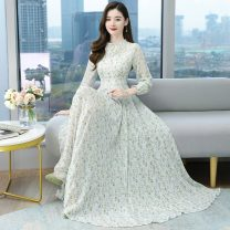 Dress Spring 2021 S,M,L,XL,2XL,3XL,4XL longuette singleton  Long sleeves commute Crew neck High waist Decor zipper Big swing routine Others Type A Other / other Korean version printing 51% (inclusive) - 70% (inclusive) Chiffon other
