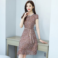 Dress Summer 2021 Black, pink M,L,XL,2XL,3XL,4XL Mid length dress singleton  Short sleeve commute V-neck middle-waisted Broken flowers zipper A-line skirt routine Others Type A Korean version 3.29-5 51% (inclusive) - 70% (inclusive) Chiffon polyester fiber