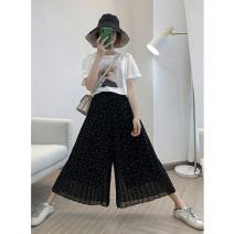 Women's large Summer of 2019 Black, dot XL (100-125 kg), 2XL (125-150 kg), 3XL (150-180 kg), 4XL (180-210 kg) trousers commute thin Korean version 18-24 years old Ninth pants