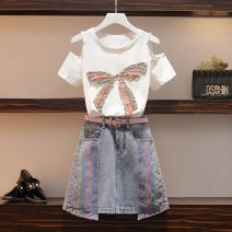 Women's large Summer 2020 Large XL, large XXL, large XXL, large XXXXL, large L Other oversize styles Two piece set commute easy moderate Socket Short sleeve other Korean version Crew neck routine cotton Three dimensional cutting routine MAJE BRIAN Diamond inlay 81% (inclusive) - 90% (inclusive) other