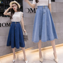 skirt Summer 2021 S,M,L,XL,2XL Light blue, dark blue longuette commute High waist Denim skirt Solid color Type A 18-24 years old X1 91% (inclusive) - 95% (inclusive) Denim cotton Button Korean version