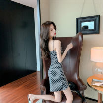 Dress Summer 2021 Picture color S,M,L Short skirt singleton  Sleeveless commute One word collar High waist letter zipper A-line skirt camisole 18-24 years old Type A Korean version Chain, printing 51% (inclusive) - 70% (inclusive) other polyester fiber
