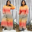 Dress Autumn 2020 Blue, orange L,XL,2XL,3XL,4XL Long sleeves Crew neck High waist Big swing 18-24 years old Independent brand Print, tie dye, contrast AQ19111 71% (inclusive) - 80% (inclusive) polyester fiber