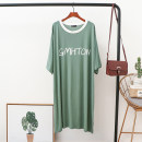 Nightdress Other / other Black, collection + shopping cart = lightning delivery, Matcha green, haze blue, taro purple, iron gray Loose Version (80-230 Jin recommended) Korean version Short sleeve Leisure home summer Solid color middle age Crew neck cotton 81% (inclusive) - 95% (inclusive)