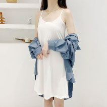 Dress Summer 2021 M (recommendation 80) - 110 kg) , L (recommendation 110) - 130 kg) , XL (recommendation 130) - 160 kg) Mid length dress singleton  Sleeveless commute V-neck High waist Solid color Socket A-line skirt routine Others Type A Other / other 91% (inclusive) - 95% (inclusive) other