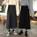 skirt Spring of 2019 M,L,XL,2XL,3XL Dark grey, black longuette commute High waist A-line skirt Solid color Type A 18-24 years old 51% (inclusive) - 70% (inclusive) Other / other polyester fiber Korean version