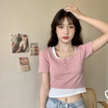 Women's large Summer 2021 White, pink, black XL [recommended 100-125 kg], 2XL [recommended 125-150 kg], 3XL [recommended 150-175 kg], 4XL [recommended 175-200 kg] Knitwear / cardigan Fake two pieces commute Self cultivation thin Socket Short sleeve Korean version square neck 18-24 years old