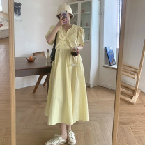 Women's large Summer 2021 Yellow, black M [recommended 80-100 Jin], l [recommended 100-120 Jin], XL [120-140 Jin], 2XL [140-160 Jin recommended], 3XL [160-180 Jin recommended], 4XL [180-200 Jin recommended] Dress singleton  commute easy moderate Socket Short sleeve other Korean version V-neck routine