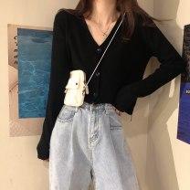 Women's large Spring 2020, autumn 2020 Apricot, black, brick red M [suggested 90-110 kg], l [suggested 110-120 kg], XL [suggested 120-140 kg], 2XL [suggested 140-160 kg], 3XL [suggested 160-180 kg], 4XL [suggested 180-200 kg] Knitwear / cardigan singleton  commute Self cultivation Cardigan V-neck