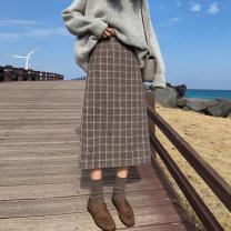 Women's large Winter 2020, autumn 2020 Brown, blue grey L (recommended 100-120 kg), XL (recommended 120-140 kg), 2XL (recommended 140-160 kg), 3XL (recommended 160-180 kg), 4XL (recommended 180-200 kg), m [recommended 80-100 kg] skirt singleton  commute easy moderate lattice Korean version polyester