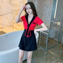 Dress Autumn 2020 Red, white S,M,L,XL Short skirt singleton  Short sleeve commute Admiral middle-waisted Socket A-line skirt Others 18-24 years old Type A lady