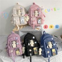 Backpack polyester fiber Other / other brand new large zipper campus Double root Japan and South Korea hard no Soft handle Solid color Yes neutral Water splashing prevention Vertical square Tender girl's heart yes 14 inches Open your pocket