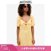 Dress Autumn 2020 Light beige print 001 165/88A 155/76A 160/80A 170/96A 175/104A Middle-skirt singleton  Short sleeve street V-neck High waist Broken flowers Socket other Others 25-29 years old MONKI More than 95% other polyester fiber Polyester fiber 99% polyurethane elastic fiber (spandex) 1%