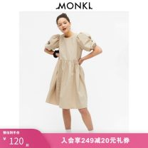 Dress Spring 2020 Taupe 004 black 001 black 003 165/88A 155/76A 160/80A 170/96A 175/104A Mid length dress singleton  Short sleeve street Crew neck Loose waist Solid color Socket puff sleeve Others 25-29 years old MONKI More than 95% cotton Cotton 100% Europe and America