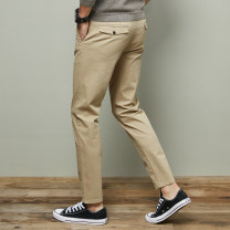 Casual pants Others Fashion City Khaki, black 28,29,30,31,32,33,34,36,38 routine trousers Travel? Self cultivation Micro bomb MP002148 Four seasons youth tide 2020 middle-waisted Straight cylinder Tapered pants Pocket decoration washing Solid color other cotton cotton Fashion brand More than 95%