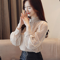 Lace / Chiffon Winter 2020 Apricot plush, black plush, apricot thin, black thin S,M,L,XL,2XL,3XL Long sleeves commute Socket singleton  Self cultivation Regular stand collar Solid color routine 25-29 years old WCS52575 Korean version 96% and above