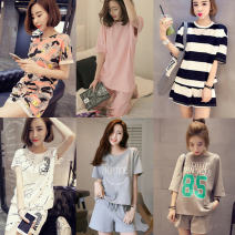 Pajamas / housewear set female Other / other M,L,XL,XXL cotton Short sleeve Sweet pajamas summer Thin money Crew neck stripe shorts Socket youth 2 pieces rubber string More than 95% Knitted cotton fabric printing