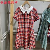 Dress Summer 2021 gules 155/80A,160/84A,165/88A,170/92A Mid length dress singleton  Short sleeve Sweet Doll Collar middle-waisted lattice Socket A-line skirt routine 18-24 years old E·LAND EEOWB24Q4N More than 95% cotton college