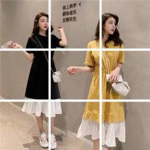 Dress Summer of 2019 Yellow, black M,L,XL,2XL,3XL Crew neck 18-24 years old